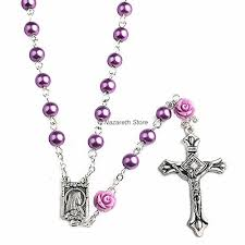 rosary necklace with cross images Purple pearl beads rosary catholic necklace 6 pcs our rose lourdes jpg