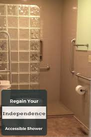 accessible bathroom remodel in akron with solid surface panels and