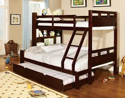 Bookcase Bed Full Fairfield Dark Walnut Twin Over Full Size Bunk Bed Trundle Bookcase
