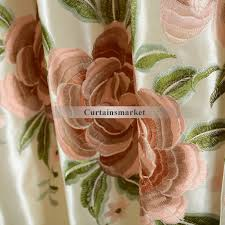 Peach Floral Curtains Beautiful Pink Embroidery Floral Curtains For Home