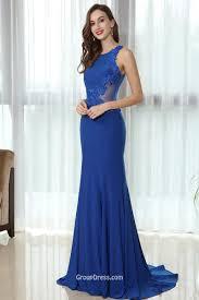 royal blue sleeveless sheer back lace appliqued mermaid prom dress
