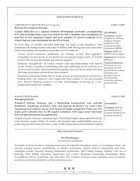 Sample Resume Objectives Psychology by Sample Resume New Business Development Augustais