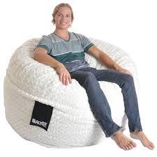 slacker sack 5 foot round large soft white fur memory foam bean