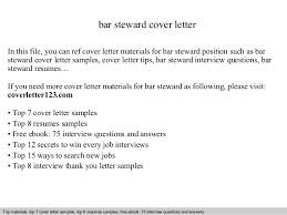 bar steward cover letter