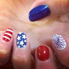 nail shellac gelish gel nails nail art cute red white blue stars