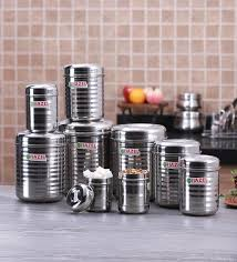 buy hazel silver round kitchen storage canister set of 9 with