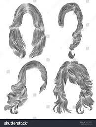 set long woman hairs black pencil stock vector 599719265