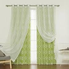 set 4 panels blackout sheer grommet tulle lace curtains window