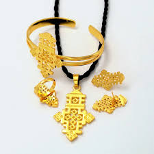 photo necklace pendants images Ethiopian necklace pendants and earrings set 18k gold filled jpg