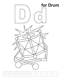 d for drum coloring page with handwriting practice download free