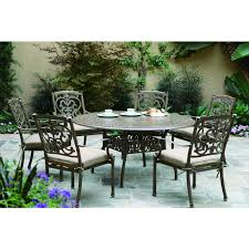 Round Table Patio Dining Sets - darlee santa barbara 7 piece cast aluminum patio dining set with