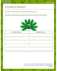 concrete or abstract nouns elementary english worksheet