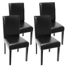 chaises s jour lot de 4 chaises de séjour littau cuir reconstitué noir pieds