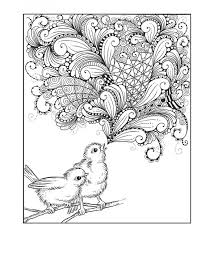 free downloadable zentangle bird coloring page