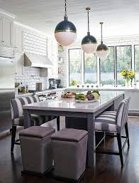 kitchen island with gray striped bench transitional kitchen