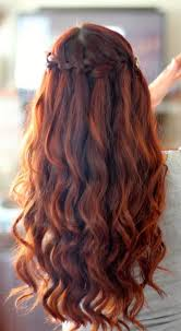 prom hairstyle with braided long wavy hairstyle back view