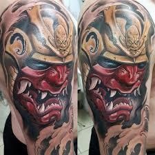 hannya mask samurai tattoo 60 samurai helmet tattoo designs for men japanese ink ideas mens