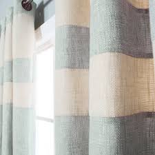 Linen Curtains With Grommets Grey Striped Heavyweight Textured Faux Linen Grommet Top Curtain Pair