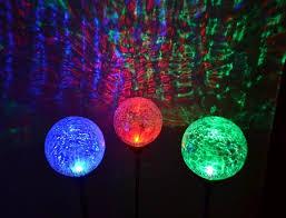 festive crackle glass solar garden stake lights a set of