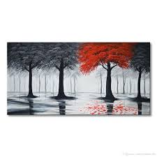 Living Room Art Paintings 2017 Pure Handmade Large Canvas Oil Painting Modern Black And Red