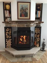 large bay window efficient wood fireplace by friendly fires in