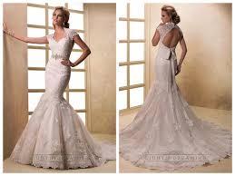 cap sleeves v neck mermaid lace wedding dresses with keyhole back