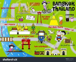 Bangkok Map Cute Bangkok Thailand Guide Map Illustration Stock Vector