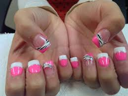 my pretty nailz pink and white zebra print konad nail art nail