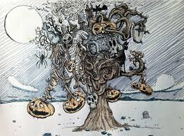 halloween drawing spooky tree doodle drawing youtube