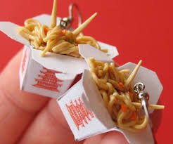 food earrings takeout container earrings