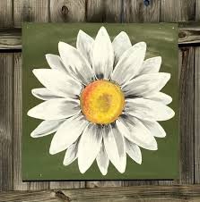 daisy painting on wood panel original flower art green and white
