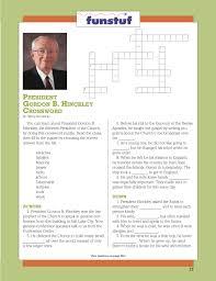 thanksgiving crossword president gordon b hinckley crossword puzzle lds lesson ideas
