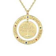 personalized engraved necklaces personalized engraved family tree necklace with birthstones