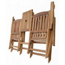 Patio Folding Chair by Patio Wise Folding Chair Set With Built In Table Acacia Wood