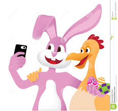 easter bunny and chicken take a selfie stock vector image 38955278