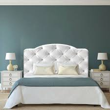 white fabric headboard with upholstered mahoganycherry ideas