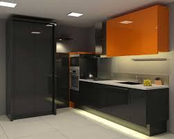 Kitchen  Ultra Modern Kitchen Style With Glossy Black Laminate - Black laminate kitchen cabinets