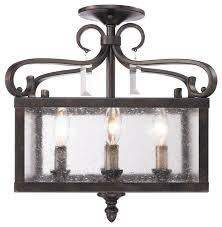 Semi Flush Pendant Lighting Valencia Semi Flush Convertible In Fired Bronze With Seeded Inside
