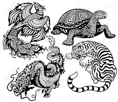 tiger turtle phoenix and dragon black and white set of four