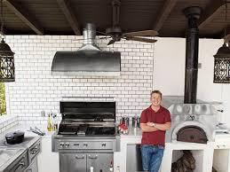 backyard kitchens get the look tim love s backyard kitchen fn dish behind the