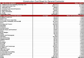 contractor house plans construction cost sheet for general contractor house project