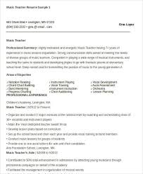 Music Teacher Resume Template Music Resume Template Sample Music Resume Template 42 Teacher