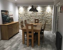 christine s dining room feature wall split face tiles walls and