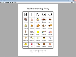 view document first birthday boy party bingo cards clip art