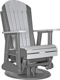 Grey Adirondack Chairs Luxcraft Poly 2ft Swivel Adirondack Style Glider Chair Swingsets