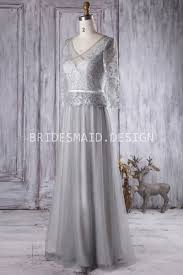 grey lace and tulle vintage bridesmaid dress with illusion 3 4
