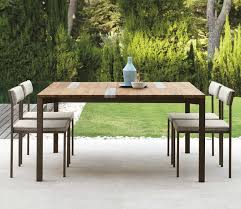 Travertine Patio Table Garden Table With Stainless Steel Frame Top In Iroko Wood And