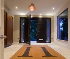 double door entrance entry contemporary with walnut steel front