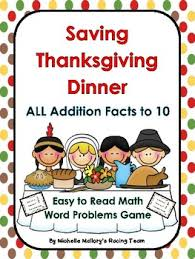 saving thanksgiving dinner all addition facts to 10 word problem