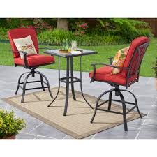 Counter Height Patio Dining Sets - mainstays belden park 3 piece swivel high bistro set seats 2